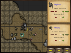 Screenshot of the battle map in Endless RPG